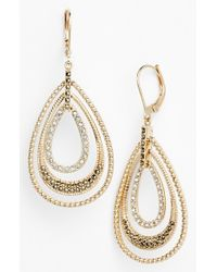 Judith Jack | Metallic Orbital Triple Teardrop Hoop Earrings - Marcasite/ Crystal/ Gold | Lyst