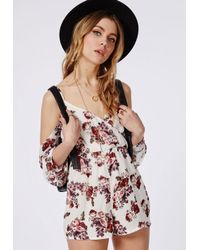 2146d6431c Missguided Floral Cut-out Shoulder Playsuit Multi - Lyst