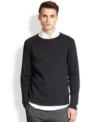 Theory - Black Long-Sleeve Pima Cotton Tee for Men - Lyst
