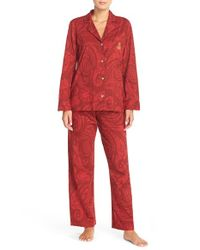 Lauren by Ralph Lauren | Red Cotton Pajamas | Lyst