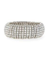 R.j. Graziano | Metallic Silvertone Pavé Stretch Bracelet | Lyst