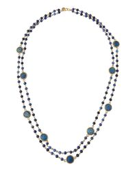 Lydell NYC - Blue Long Turquoise Semiprecious Double-strand Necklace - Lyst