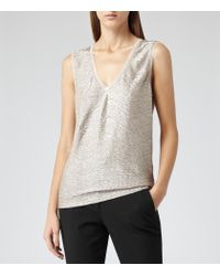 Reiss - Ona Metallic Fluid Metallic Vest - Lyst