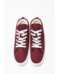 Forever 21 - Purple Faux Shearling High Tops - Lyst