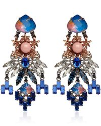 Vickisarge | Blue Rose Gold and Palladiumplated Moroccan Rose Drop Earrings | Lyst