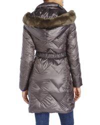 T Tahari - Gray Faux Fur Trim Hooded Down Coat - Lyst