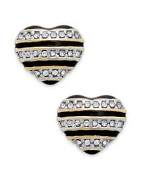 Juicy Couture - Metallic Goldtone Black Stripe and Pave Heart Stud Earrings - Lyst