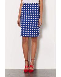 TOPSHOP - Blue Blurry Check Pencil Skirt - Lyst