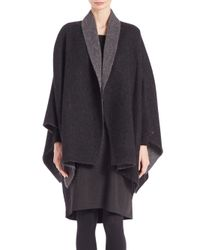 Eileen Fisher - Gray Two-tone Open Front Cape - Lyst