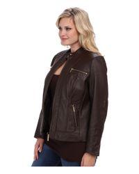 MICHAEL Michael Kors - Brown Plus Size Zip Pocket Leather Jacket - Lyst