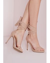 9466969301bd Missguided Ankle Tie Heeled Sandals Nude in Pink - Lyst