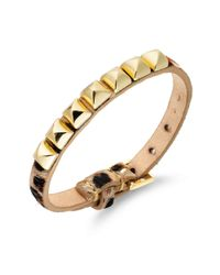 Juicy Couture - Metallic Pyramid Stud Leopardprint Leather Bracelet - Lyst