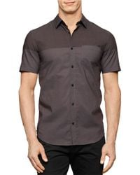 Calvin Klein | Brown Chambray Colorblock Sportshirt for Men | Lyst