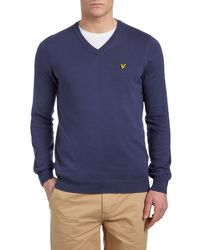 Lyle & Scott | Blue V Neck Classic Cotton Jumper for Men | Lyst