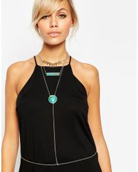 ASOS | Blue Multi Row Y Body Chain | Lyst