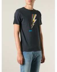 Paul Smith | Gray Lightning Bolt Print T-Shirt for Men | Lyst
