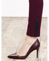 Banana Republic | Purple Sloan-fit Faux-leather Trim Ankle Pant | Lyst