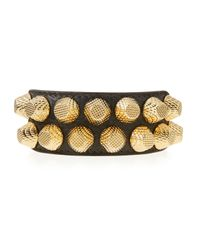 Balenciaga - Metallic Giant 12 Wide Leather Bracelet With Studs - Lyst