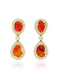 Nicholas Varney - Red One Of A Kind Fire Opal And Diamond Ear Pendants - Lyst