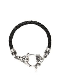 John Richmond - Black Braided Leather & Skull Bracelet for Men - Lyst