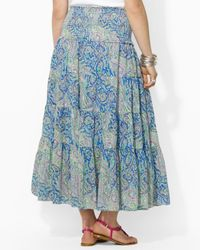 Ralph Lauren - Blue Lauren Plus Moriah Skirt with Smocked Waist - Lyst