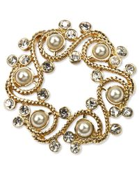 Jones New York - Metallic Gold-tone Plastic Pearl And Glass Stone Wreath Pin Box - Lyst