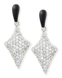 M.c.l  Matthew Campbell Laurenza - Metallic Art Deco Black Enamel & White Zircon Pave Arrow Earrings - Lyst