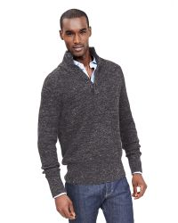 Banana Republic | Gray Ribbed Button-mock Pullover for Men | Lyst