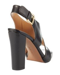 Nine West | Black Wade Leather Pump Sandals | Lyst