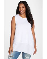 Vince Camuto | White Asymmetrical Hem Mixed Media Sleeveless Top | Lyst