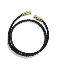 David Yurman | Chevron Triple-wrap Bracelet In Black Leather And Gold for Men | Lyst