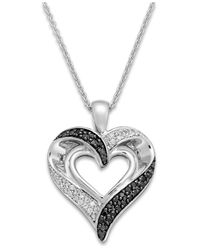 Macy's | Metallic Diamond (1/4 Ct. T.w.) Double Heart Necklace In Sterling Silver | Lyst