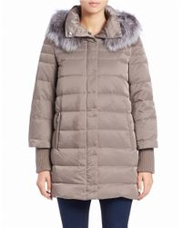 Elie Tahari   Gray Silver Fox Fur-trimmed Puffer Coat   Lyst