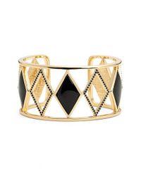 Rebecca Minkoff | Black 'diamond Deco' Cuff Bracelet | Lyst