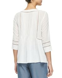 Rebecca Taylor - White Pintucked Cutout Cotton Blouse - Lyst