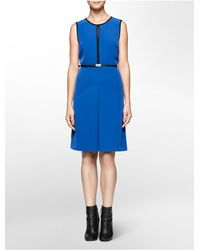 Calvin Klein - Blue White Label Colorblock Keyhole Belted Sleeveless Fit + Flare Dress - Lyst