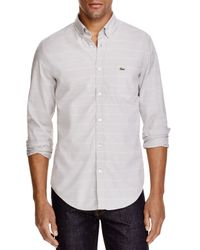 Lacoste | Gray Stripe Slim Fit Button Down Shirt for Men | Lyst