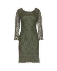 Diane von Furstenberg - Green Zarita Long Lace Dress - Lyst