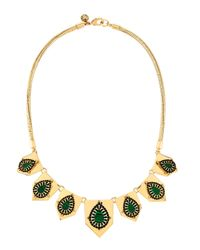Lydell NYC - Green Seven-station Necklace W/ Malachite-color Cabochons - Lyst