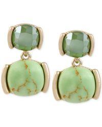 Kenneth Cole - Gold-tone Green Stone Drop Earrings - Lyst