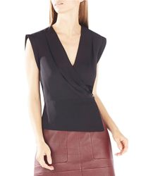 BCBGMAXAZRIA | Black Maryah Draped Blouse | Lyst
