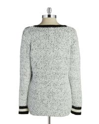 Calvin Klein - White Eyelash Fringe Varsity Sweater - Lyst