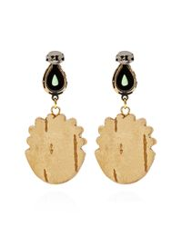Masterpeace | Green Carved Birch Wood and Malachite Earrings | Lyst
