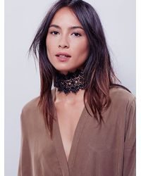 Free People | Black Regal Rose Womens Victoria Lace Choker | Lyst