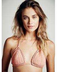 Free People - Orange She Made Me Womens Crochet Triangle Top - Lyst