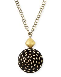 Nest - Metallic Spotted Horn Disk Pendant Necklace - Lyst