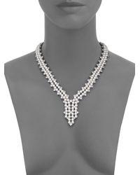 Adriana Orsini | Metallic Garden Gate Faux Pearl Drama Y Necklace/silvertone | Lyst