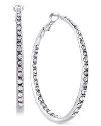 Guess - Metallic Silver-tone Pavé Crystal Hoop Earrings - Lyst