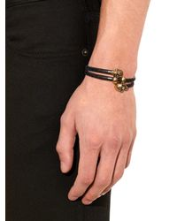 Alexander McQueen - Black Wraparound Woven-leather Bracelet for Men - Lyst