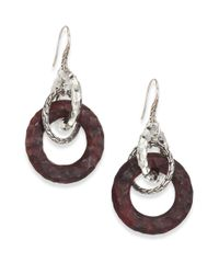 John Hardy | Purple Palu Rose Wood  Sterling Silver Link Drop Earrings | Lyst